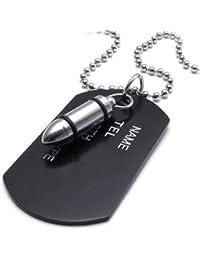 KONOV Joyería Collar con Colgante de hombre, Bala & Dog Tag, Placa Nombre Militar, Cadena 68cm, Aleación, Color negro plata (con bolsa de regalo)