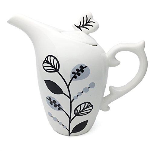 Hausmann & Söhne Teekanne | Teekanne mit Ornamenten | 2-teilige Teekanne mit Deckel | Weiss, grau, schwarz | Geschenk-Idee