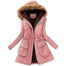SODIAL(R) Mujer Abrigo largo de acolchado grueso de invierno de piel encapuchado Ropa exterior Chaqueta -Rosa-XL