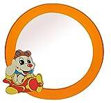 2 in 1: runder Bilderrahmen + Spiegel / Wandspiegel aus massiven Holz - Hund im Flugzeug in orange - Kinderzimmer - Tiere - für Kinder die Wand - Tier - Mädchen Jungen Hunde oranger Haustiere Bilder Rahmen