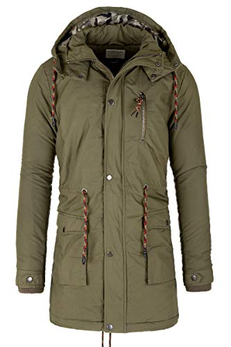 Eight2Nine Jacke Winterjacke Herren Parka Mantel Parker Winter Outdoor Kapuze (Grün, M)