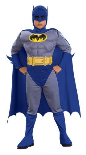 3 Deluxe Muskel Kostüme (Batman Deluxe Kinderkostüm mit Muskeln - S - 116)