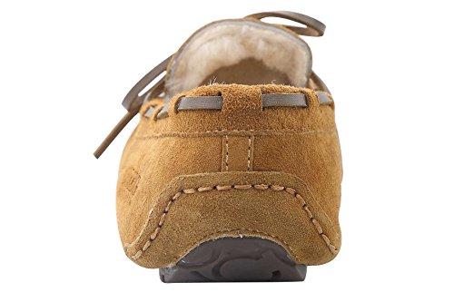 OZZEG Cuir basane flâneurs occasionnels mocassins Slip nouveaux hommes sur la conduite des chaussures brun