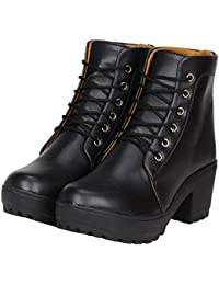 AZUGO Women's Handstiched Leather Ankle Boots for Women's