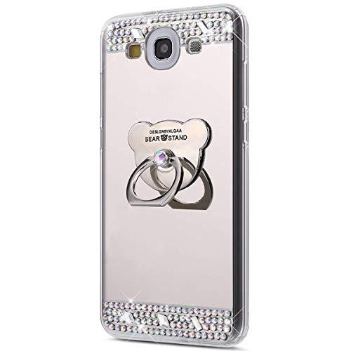 Coque Galaxy S3,Surakey [360 Rotation Bague bâton support] Bling Paillette Glitter Strass Miroir Housse Coque Silicone TPU Etui Téléphone Coque Housse pour Samsung Galaxy S3, Argent