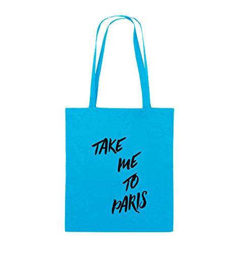 Comedy Bags - TAKE ME TO PARIS - Jutebeutel - lange Henkel - 38x42cm - Farbe: Schwarz / Silber Hellblau / Schwarz