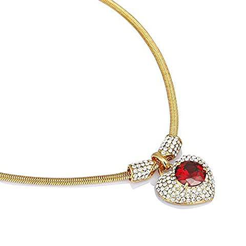 Love Hearts Swarovski Crystal Necklace & Earrings Set with Stunning Heart Pendant - Red, Janeo Jewellery