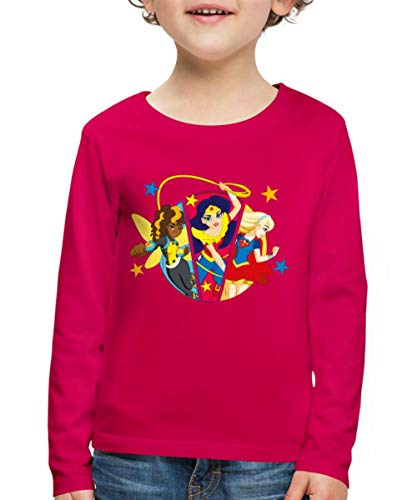Spreadshirt DC Super Hero Girls Bumblebee Wonder Woman Supergirl Kinder Premium Langarmshirt, 134/140 (8 Jahre), Dunkles Pink (Shirt Wonder Kids Woman)