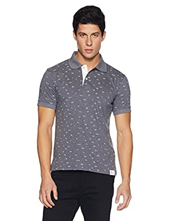 Amazon Brand - Symbol Men's All Over Printed Polo T-Shirt (AW17PLK68_S_Mid Grey Melange)