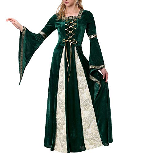 Joker Kostüm Lady - Dicomi Frauen 2 Stück Magische Hexe Kleid Party Kostüm Cosplay Langes Kleid bilden Gothic Retro Solide Langarm Kleid M