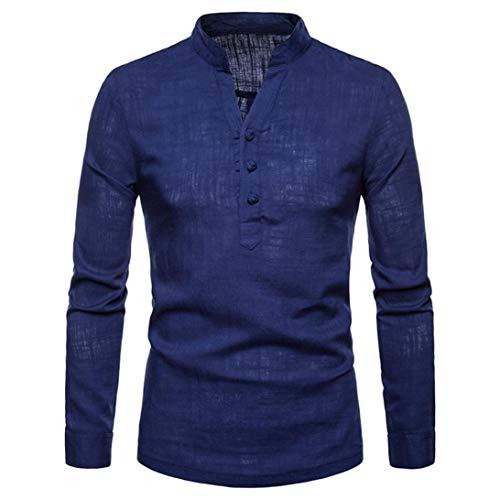 Camicia uomo, feixiang uomini camicie in lino henry taglia larga camicia a maniche lunghe per uomo, autunno e inverno, polo camicetta slim fit t shirt camicetta