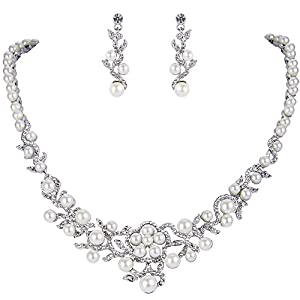 EVER FAITH Kristall Cream Simulierte Perle Blume Reben Halsband Ohrringe Set Klar Silber-Ton
