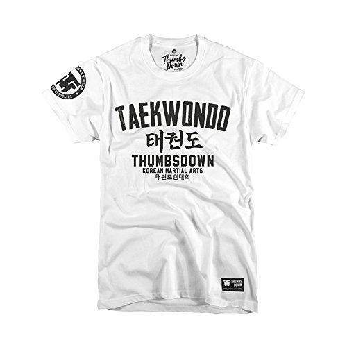 Thumbs Down Taekwondo T-Shirt. Korean Martial Arts. MMA. Gym. Training. Casual (Size Medium) White