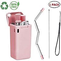 Lx-Top Pajita plegable reutilizable de acero inoxidable apto para uso alimentario, sin BPA, portátil, para beber con estuche de llavero cepillo de limpieza