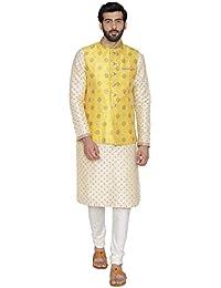 Manyavar Men's Cotton Silk Sleeveless Jacket