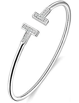 Hanie Damen Armreif T-Form Armspange 925 Sterling Silber Verstellbar Offen Armband mit Weiß Swarovski Elemente...