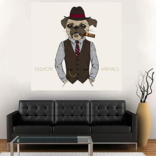 XIAOXINYUAN Decoración Nórdica Perro Fumando Animal Art Canvas Poster and Print Pintura...