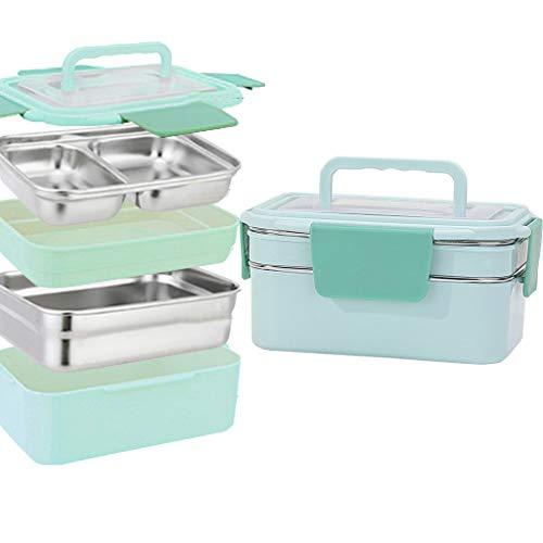 OldPAPA Brotdose,Auslaufsichere japanische Bento-Lunchbox mit Tragegriffbox 1200 ml / 41Oz für Kinder Erwachsene Büro Schule,Blau (Isolierte Kids Lunch-box-schule)