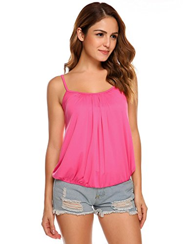 Zeagoo Women Adjustable Spaghetti Strap Cami Casual Solid Tank Top
