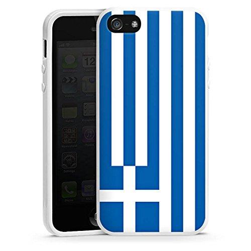 Apple iPhone 5s Housse Étui Protection Coque Grèce Drapeau Grèce Housse en silicone blanc