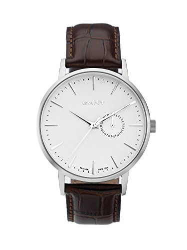 Gant Park Hill II Men's Quartz Watch with Silver Dial Analogue Display and Brown Leather Strap W10842