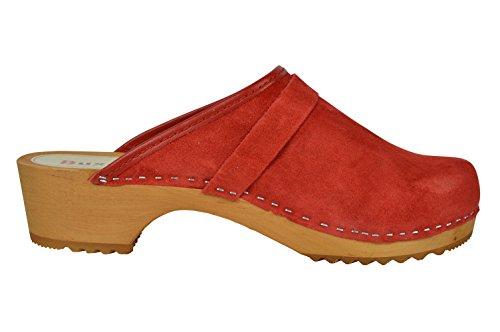 Buxa Unisex Holz und Wildleder Einfach Clogs Rot