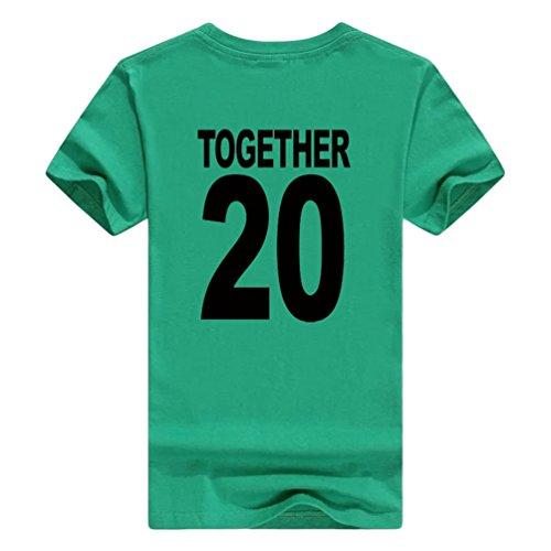 NiSeng Coppia Stampa Camicia Casual Manica Corta T-Shirt Estate Lovers Camicia Magliette Verde Nero2