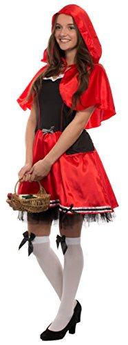Brandsseller Damen Kostüm - ROTKÄPPCHEN - Kleid mit Kapuze - Fasching Karneval Junggesellenabschied - Größe: L/XL (Red Riding Hood Kostüm Korb)