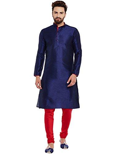 Larwa Men's Silk Kurta Pyjama (Kurtanavyblue/Redpyjamipiping=38_Navy Blue & Red)