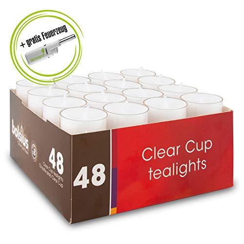 DecoLite: Teelichte mit 8 Stunden Brenndauer im durchsichtigem Becher (Bolsius) & Stabfeuerzeug Kerzenprofi - 1 Packungen Teelichter (48 Stück)