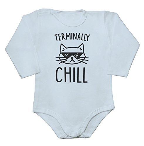 Terminally Chill Cool Cat With Sunglases Baby Long Sleeve Romper Bodysuit Babyspielanzug Large (Hipster-sunglases)
