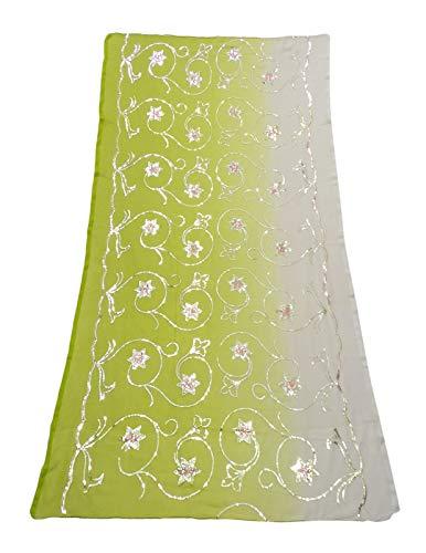 PEEGLI Indische Vintage Dupatta Pailletten Lange Stahlen Bollywood Traditionelle Grüne Blumen Wrap Frauen Georgette Mischung Schal DIY Handwerk Stoff -