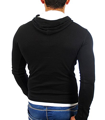 Tazzio–Felpa Cappuccio fashionb Felpa 1003nero e bianco–nero Nero
