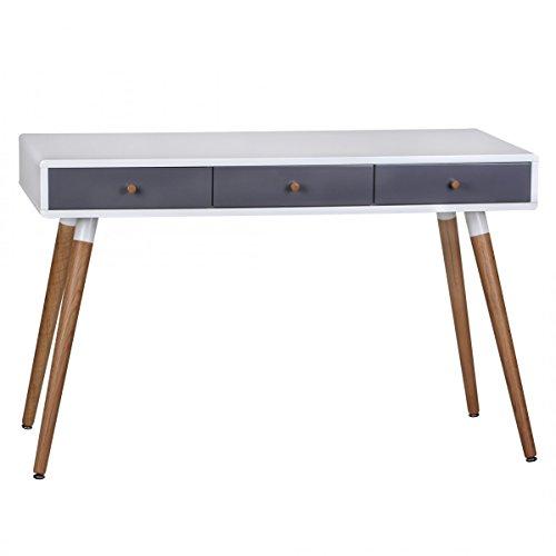 FineBuy-Design-Retro-Konsolentisch-Skandinavisch-mit-3-Schubladen-Wei-Blau-Kleiner-Schreibtisch-mit-Ablage-120-x-55-x-75-cm-Moderne-Hochwertige-Tisch-Konsole-mit-Holzbeinen-Matt-Lackiert
