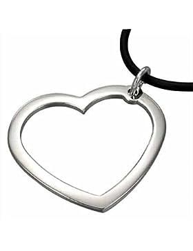 Halskette Leder HK 26 Herz Anhänger Edelstahl 3 / 3, 5 cm Lederkette 55 cm