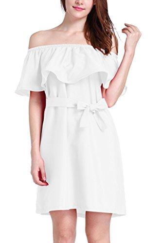 Damen Kleid Minikleid Partykleider Rüschen Boot Hals Ärmellos Trägerlos Gürtel Uni-Farben Loose Einteiler 2017 Die Neue Weiß