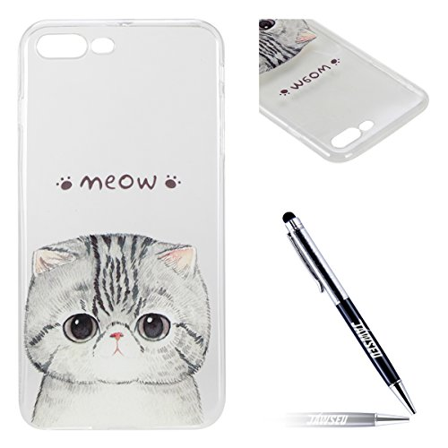 Custodia iPhone 7 Plus Silicone, Custodia Cover per iPhone 7Plus in Silicone Transparente, JAWSEU Creativo Disegno Ultra Sottile Slim Cristallo Chiaro Custodia per iPhone 7 Plus Protettiva Bumper Case Gattino