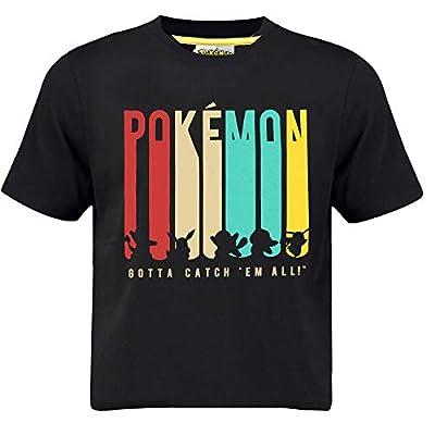 Pokèmon Camiseta Pikachu para Niños Gotta Catch 'em All Design   Top De Manga Corta De Algodón Negro con Las Siluetas De Charmander, Eevee, Squirtle, Bulbasaur, Pikachu   Idea De Regalo
