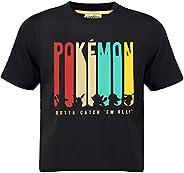 Pokèmon Camiseta Pikachu para Niños Gotta Catch 'em All Design | Top De Manga Corta De Algodón Negro con L