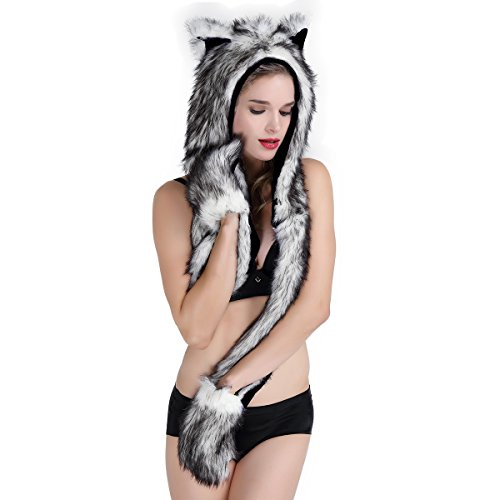 Faux Fur Animal Hat Scarf Gloves Mittens 3-in-1 Function Furry Hoodie with Paws Ears