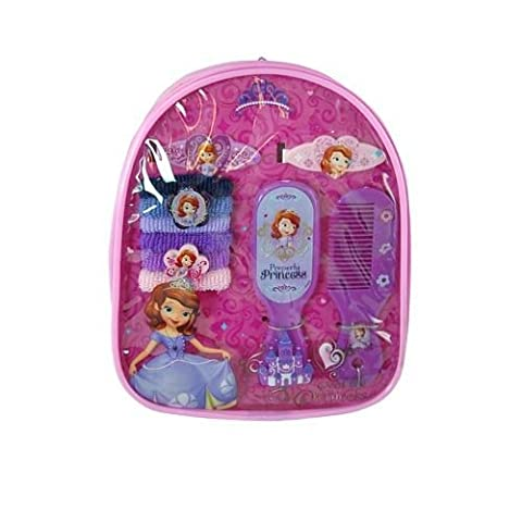 Disney Princess Sofia the First Hair Accessory Backpack - Brush, Comb, Barrettes, Pony Tail Holders by What Kids Want (English Manual)