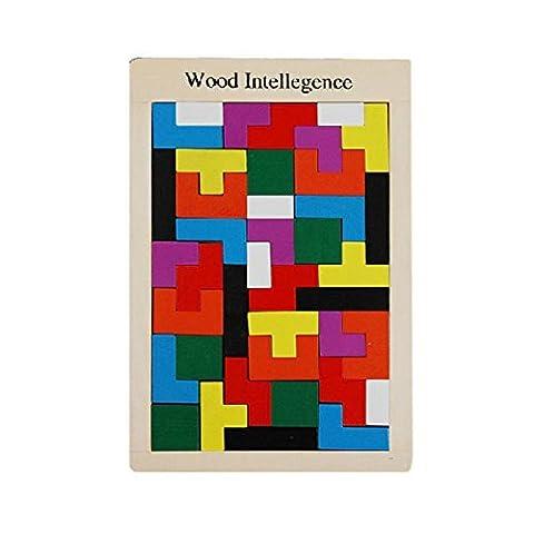 Happy Cherry-Puzzle en Bois Coloré - Jouets Educatifs Forme - Tetris Blocks-Jeu de Reflexe Assemblage Eveil pour -Petits Bébé Bambin Enfant