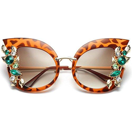 Damen Diamond Sonnenbrille Rosennie Europa Mode Retro Classic Cat Eye Glitzernd Blumen Sunglasses Frauen Brillen Damenmode Künstliche Diamant Katze Ohr Metallrahmen Marke Klassische Sonnenbrille (A)