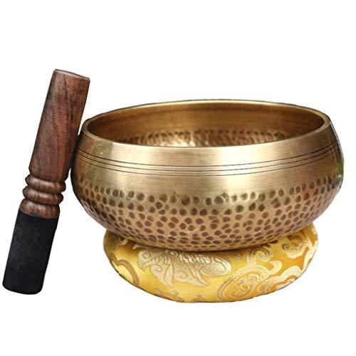 Handgemachte tibetische Klangschalen Set Behandlung Meditation Yoga Bowl, Chakra Healing Buddha Sound Bowl (Color : Metallic, Größe : 8.5cm)