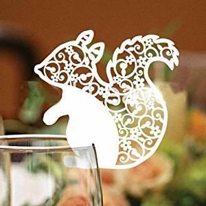 Tarjeta de invitación de boda con nombre – corte láser – etiquetas de nombre para centro de mesa con decoración de invitaciones de cristal marfil ahorro de fecha colibrí para invitados, paquete de 50