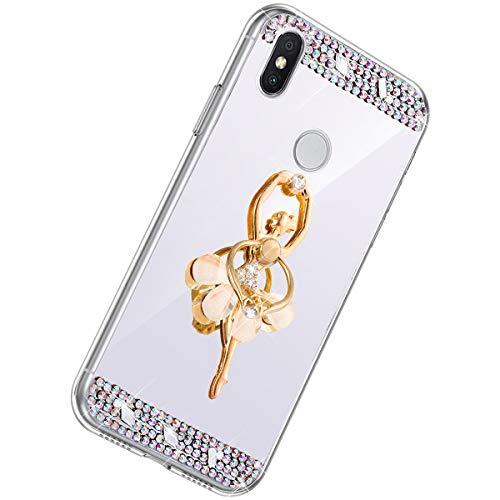 Herbests Kompatibel mit Xiaomi Redmi S2 Handyhülle Glitzer Diamant Glänzend Spiegel Handytasche Durchsichtig Kristall Bling Schutzhülle Case mit 360 Grad Ring Ständer Halter,Silber