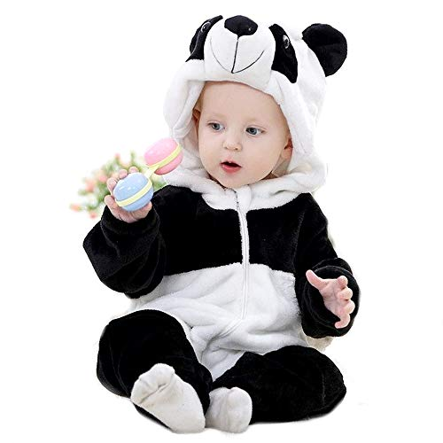 Panda Bär Pyjama - Pyjama - Junge - Mädchen - ohne Füße - Fleece - Kostüm - warme Tutone - Karneval - Größe 80 cm - Geschenkidee für Weihnachten und Geburtstag