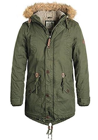 SOLID Clark Teddy Herren Parka lange Winterjacke aus 100% Baumwolle mit Kapuze und Kunstfellkragen, Größe:L, Farbe:Ivy Green (3797)