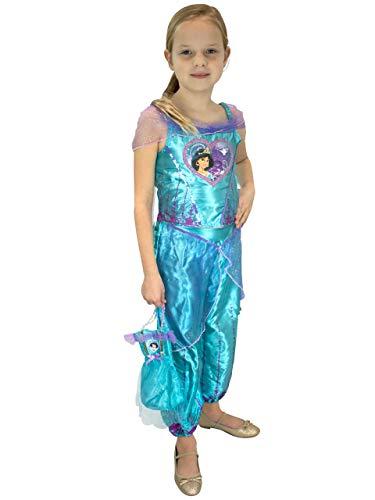 Disney Kostüm Jasmine - Disney Mädchen Aladdin Kostüm und Tasche Prinzessin Jasmine Blau 116
