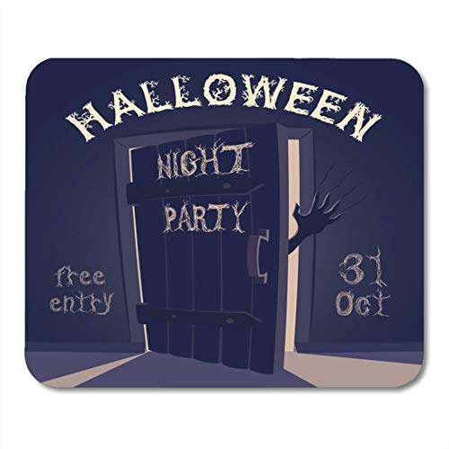 pad-Matte, Blue Creepy Open Door Scary Hand on Halloween Night Mouse Pad, Desktop Computers mats ()